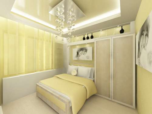 Стены в спальне лучше покрасить в спокойные теплые тона, близкие.
